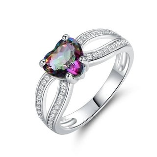 Rhodium Plated Rainbow Quartz Heart Ring
