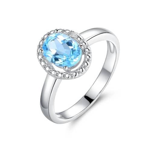 Rhodium Plated Blue Quartz Diamond Accent Ring