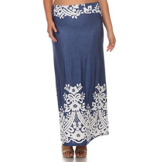 Women's Plus Size Denim Polyester, Spandex Floral Maxi Skirt