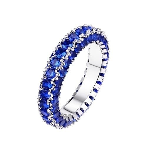Rhodium Plated Italian-cut Cubic Zirconia 3-row Eternity Ring - Blue