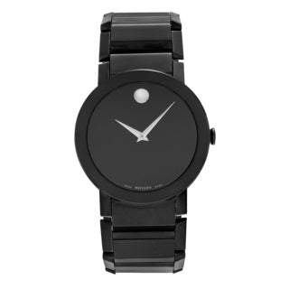 Movado Men's Slightly Blemished 'Sapphire' 0606307 Stainless Steel Black Dial Bracelet Watch