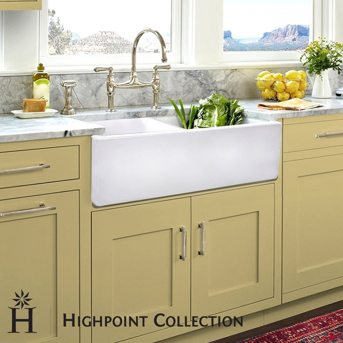 Highpoint Collection Italian Fireclay Double Bowl Farmhouse Sink - 33\