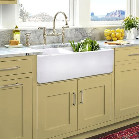 "Highpoint Collection Italian Fireclay Double Bowl Farmhouse Sink - 33"" x 18"" x 10"""