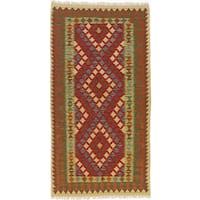 ecarpetgallery Hand-Woven Kashkoli Kilim Red, Yellow  Wool Kilim (3'5 x 6'6)