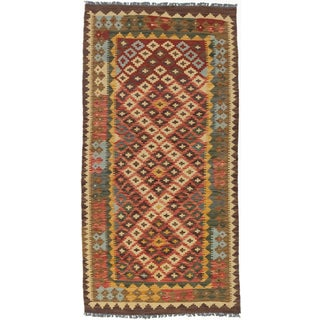 ecarpetgallery Hand-Woven Kashkoli Kilim Brown, Red Wool Kilim (3'3 x 6'5)