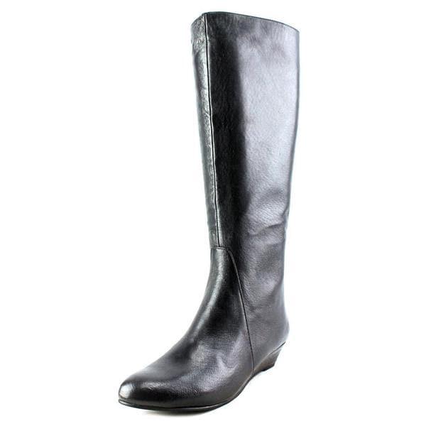 5f0dc694850 Shop Nine West Women s  Harper  Black Leather Mid-heel Knee-high ...
