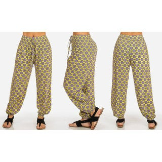 Women's Yellow Rayon High-waisted Printed Harem Pants