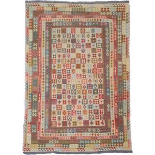 ecarpetgallery Hand-Woven Kashkoli Kilim Ivory, Red Wool Kilim (9'3 x 13'5)