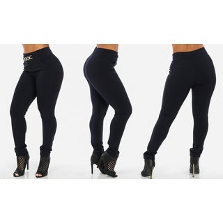 Junior Women's Stretchy High-Waist Skinny Pants with Chain Accent
