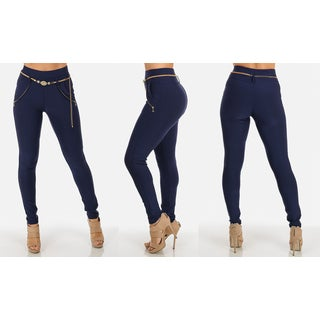 Women's Blue Stretchy High-waisted Pants With Belt