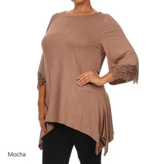 Women's Plus Size Solid Crochet Lace Sleeve Top