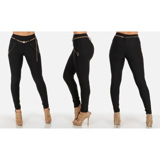Women's Stretchy High-Waisted Pants with Belt