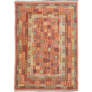 ecarpetgallery Hand-Woven Hereke Kilim Red, Yellow Wool Kilim (8'6 x 12'0)