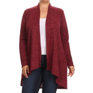 Women's Polyester and Spandex Knit Plus-size Solid Long Body Cardigan
