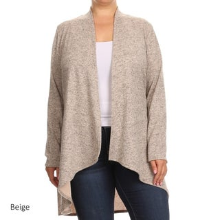 Women's Polyester and Spandex Knit Plus-size Solid Long Body Cardigan (3 options available)