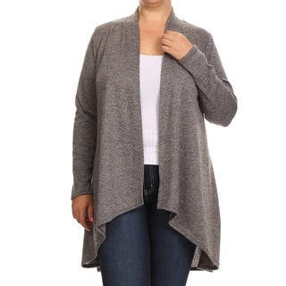 Women's Plus Size Grey Polyester, Spandex Jersey Knit Cardigan