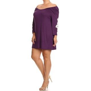 Women's Plus Size Crochet Lace Detail Rayon, Spandex Dress
