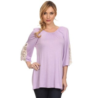 Women's Rayon and Spandex Crochet Trim-sleeve Solid Tunic