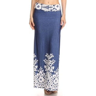 Women's Denim Blue Rayon and Spandex Floral Bottom Maxi Skirt