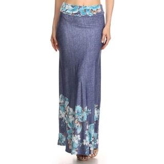 Women's Blue Denim Floral Bottom Maxi Skirt