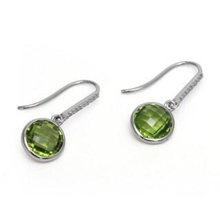 Sonia Bitton 14k White Gold Peridot and Diamond Earrings