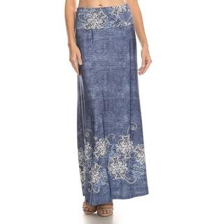 Women's Denim Floral Maxi Skirt