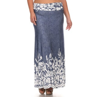 Women's Blue Denim Plus Size Floral Maxi Skirt