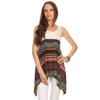 Women's Multicolor Polyester and Spandex Sleeveless Duo Print Tank Top