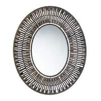 Alita Decorative Oval Wall Mirror - Brown