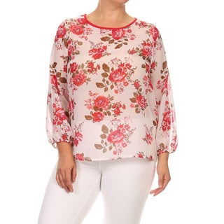 Women's White Floral Chiffon Plus Size Top