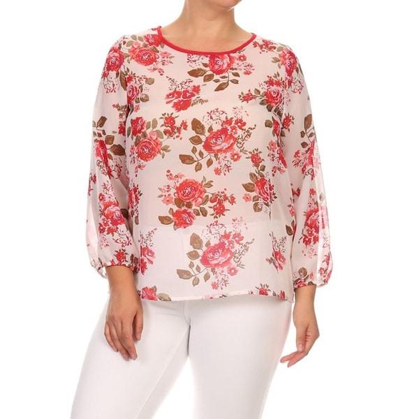 Women's White Floral Chiffon Plus Size Top