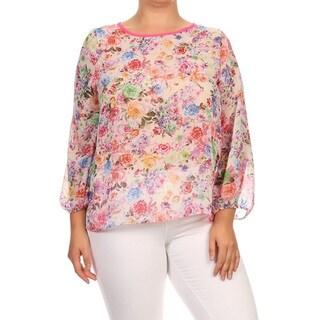 Women's Multicolor Chiffon Plus-size Floral Top (3 options available)