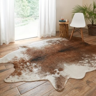 Link to Carbon Loft van Leeuwenhoek Faux Rawhide Coffee/ Ivory Rug Similar Items in Farmhouse Rugs