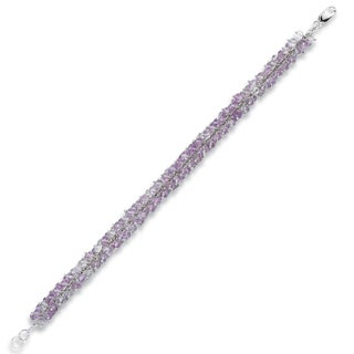 Avanti 14K White Gold 40 CT TGW Amethyst Beads Bracelet