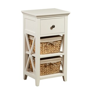 White Finish Wood Accent Bathroom Chest with Antique Brass Hardware and Baskets