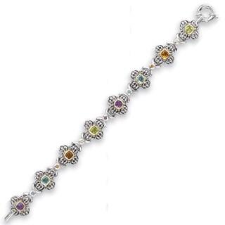 Avanti Sterling Silver and 14K Yellow Gold 5 1/2 CT TGW Multi Color Gemstone Bracelet