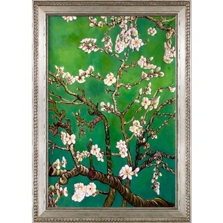 Vincent Van Gogh 'Branches of an Almond Tree in Blossom, Emerald Green' Hand Painted Framed Oil Reproduction on Canvas
