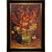 Vincent Van Gogh 'Vase with Gladioli and Carnations' Hand Painted Framed Oil Reproduction on Canvas