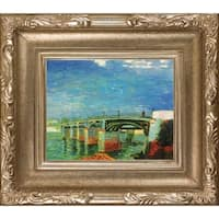 Vincent Van Gogh 'The Seine Bridge at Asnieres' Hand Painted Framed Oil Reproduction on Canvas