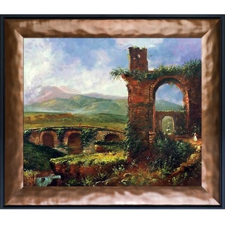 Thomas Cole 'A View Near Tivoli (Morning), 1832' Hand Painted Framed Oil Reproduction on Canvas
