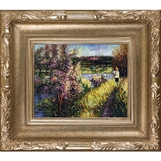 Pierre-Auguste Renoir 'The Seine at Chatou' Hand Painted Framed Oil Reproduction on Canvas