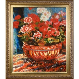 Pierre-Auguste Renoir 'Geraniums in a Copper Basin' Hand Painted Framed Oil Reproduction on Canvas