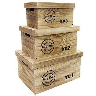 Ikee Design Wooden Storage Box with Lid And Handles Set