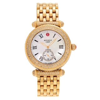 Michele Women's 'Caber Pave' MWW16A000065 1 3/8 CT TDW Diamond Mother of Pearl Link Watch