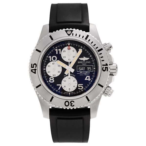 Breitling Men's 'Steelfish 44' A13341C3/BD19 Chronograph Strap Watch - Black