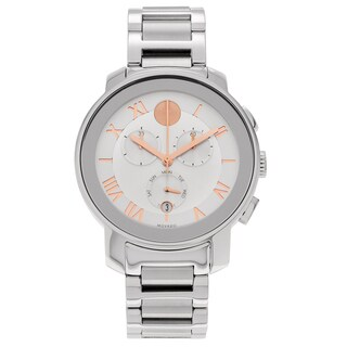 Movado Bold 3600205 Chronograph Silver Dial Roman Numeral Bracelet Watch