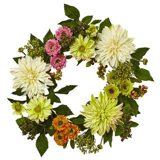 Nearly Natural Multicolored Plastic 22-inch Dahlia and Mum Wreath