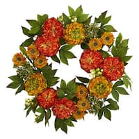 Nearly Natural Multicolor Plastic 24-inch Peony and Mum Wreath