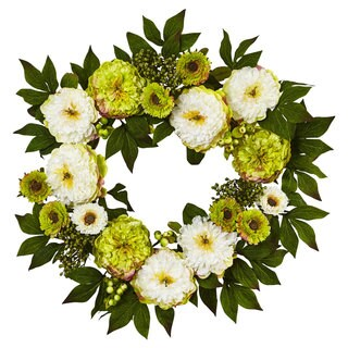 Nearly Natural Yellow Plastic 24-inch Peony and Mum Wreath