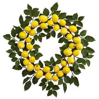 Nearly Natural Yellow Plastic 24-inch Lemon Wreath